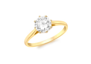 9ct Yellow Gold Large Cz Six Claw Solitaire  1.84.8309