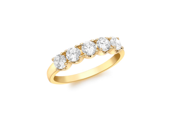 9ct Yellow Gold Five Stone