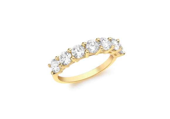 9ct Yellow Gold Seven Stone ring 1.84.8329