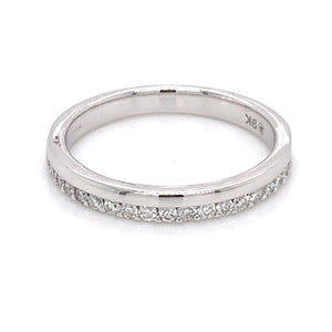 9ct White Gold Offset Diamond Band