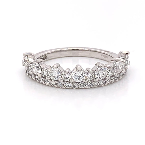 18ct White Gold Crown design diamond band