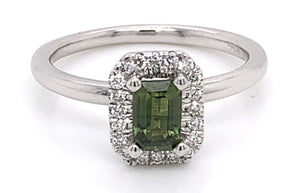 9ct White Gold Green Saphire and Diamond Halo