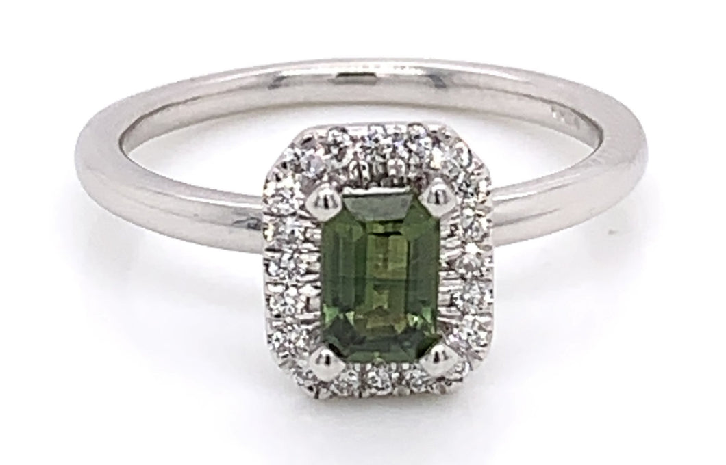 9ct White Gold Green Sapphire and Diamond Halo