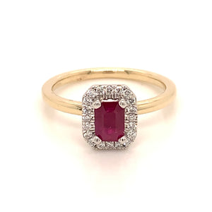 9ct Yellow Gold, Ruby and Diamond Halo
