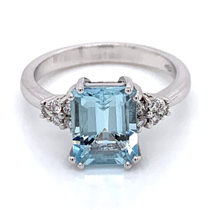 2.24ct Emerald Cut Aquamarine 0.14ct Side Diamond Cluster 18ct White Gold Ring