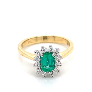 18ct Yellow Gold Diamond and Colombian Emerald Ring
