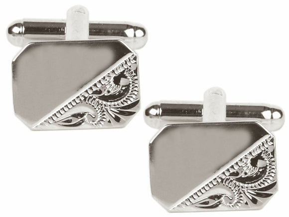 Rectangle Engraved Cufflinks 90-3010
