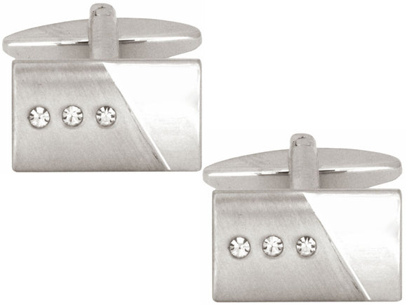Brushed/Shiney Crystals and Rectangular Cufflinks