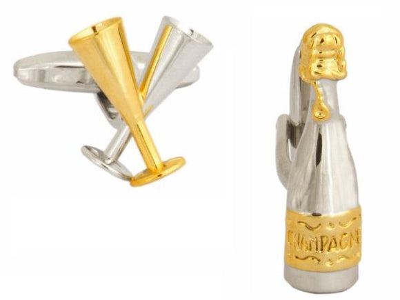 Champagne Bottle and Glass Cufflinks 90-1215