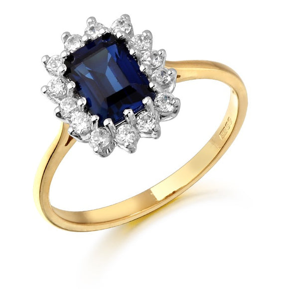 9ct Yellow Gold Cz Sapphire Emerald Cut Ring D73