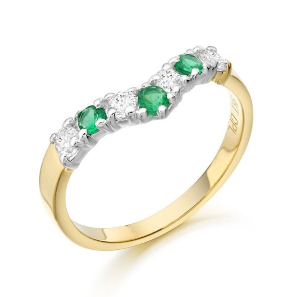 9ct Yellow Gold Cz and Emerald Ring