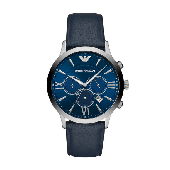 Armani Giovanni Navy Leather Strap Gents Watch