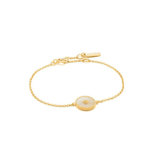Ania Haie Hidden Gem Mother of Pearl Emblem Bracelet Gold