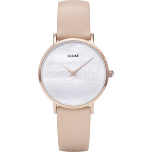 Cluse Minuit La Perle Nude Leather Strap Ladies Watch CL30059