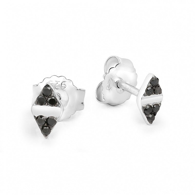 Lav'z Cupid Black Pave Double Arrowhead Stud Earrings