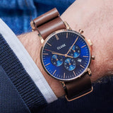 Cluse Gents Aravis Chrono Nato Leather Rose Gold Dark Blue/Dark Brown CW0101502008