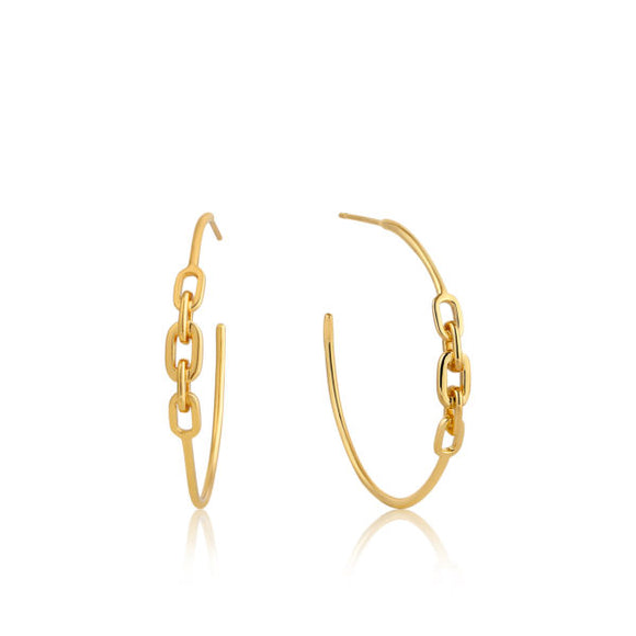 Ania Haie Link Hoop Earrings Gold
