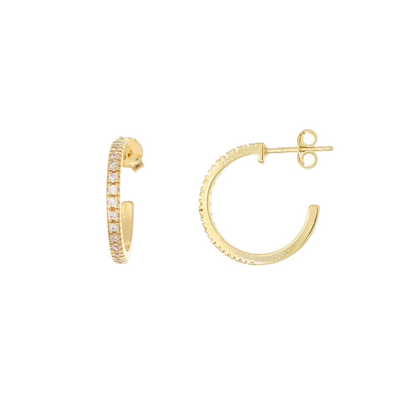 Sterling Silver Yellow Gold Plated Hoops