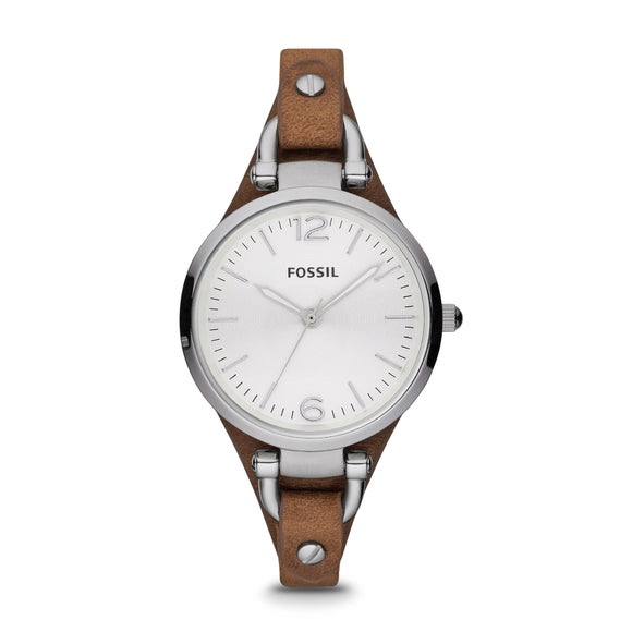 Fossil Georgia Brown Leather Strap Ladies Watch ES3060