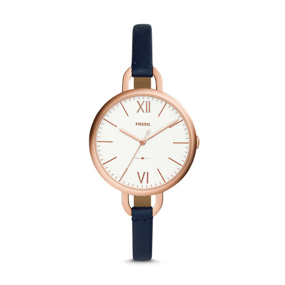 Fossil Annette Navy Leather Strap Ladies Watch ES4355