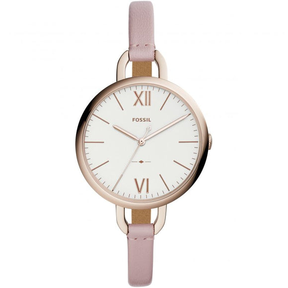 Fossil Annette Pastel Pink Leather Strap Ladies Watch ES4356