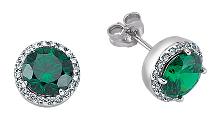 Sterling silver large emerald studs