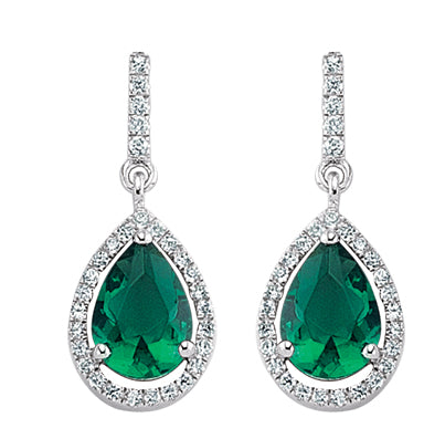 Sterling silver emerald drop earrings GVE347em