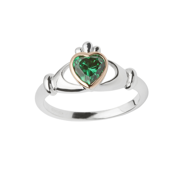 House of Lor Claddagh Ring with Green Centre Stone H20040