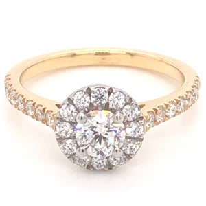 18ct Yellow Gold Halo