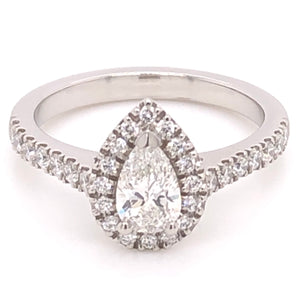 Platinum Pear Halo Ring