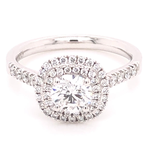 Round Diamond in Cushion Double halo Platinum