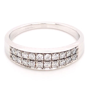 Pave set Double row Diamond Ring