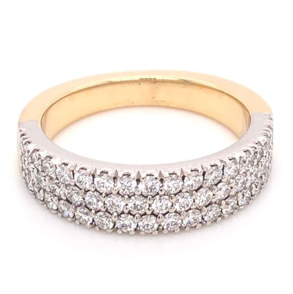 Three row Castel set 18ct two tone ring