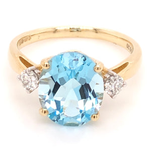 Sky Blue Topaz and Diamond Ring