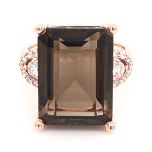 Emerald Cut Smokey Quartz and Diamond