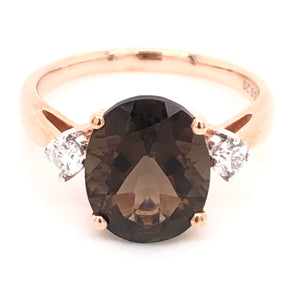 Oval Smokey Quarts and Diamond Ring