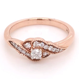 9ct Rose Gold Round Brilliant Cut Diamond on an Ornamental Band Diamond Engagement Ring