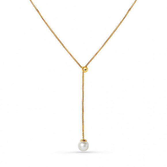 Lav'z Milkyway Pearl Drop Necklace mwnk14prlgp