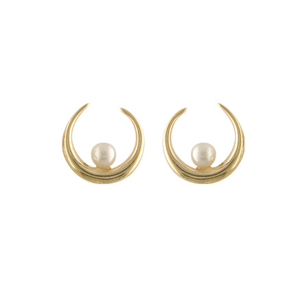 9ct Half moon and Pearl Earrings NG3111