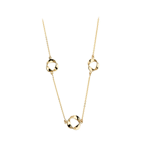 9ct Gold Necklet 3 Ribbon Circles NG9009