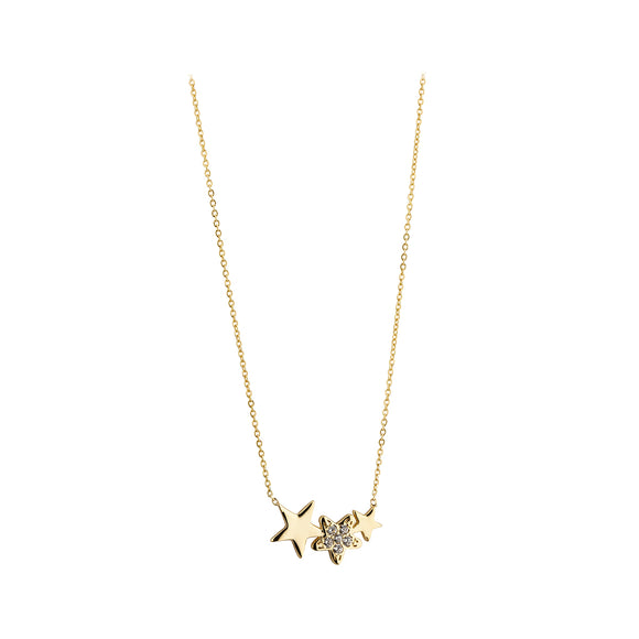 9ct Gold Tripple Star Necklace