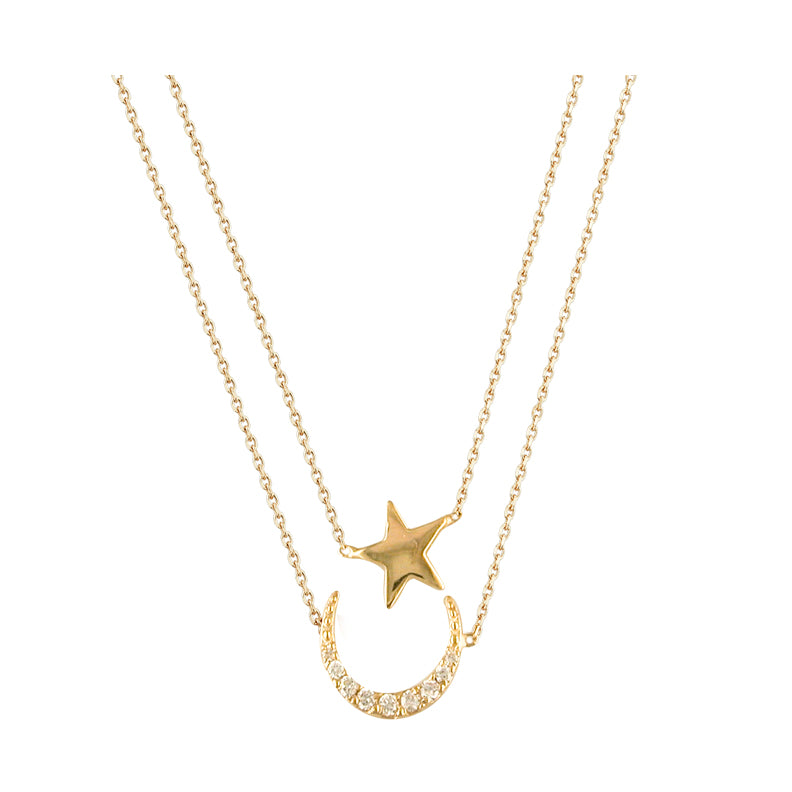 9ct Gold Moon and Star Double chain Necklace NG9031