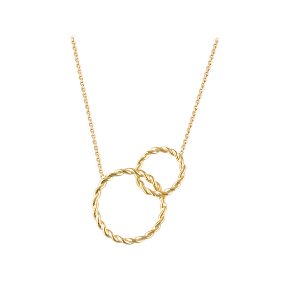 9ct Double Circle Necklace