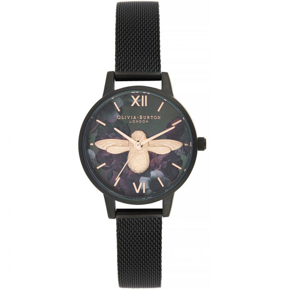 Olivia Burton After Dark 3D Bee Black Leather Watch OB16AD39