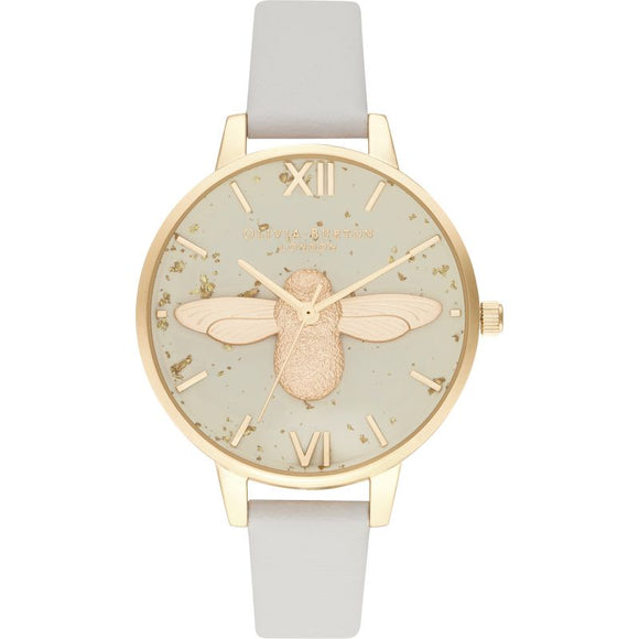OLIVIA BURTON CELESTIAL 3D BEE PEARL PINK & GOLD WATCH OB16GD37