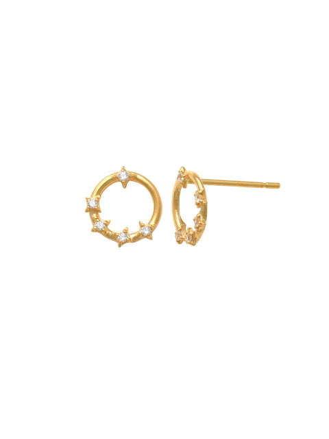 9ct Yellow Gold Open CZ Circle Stud PT46435