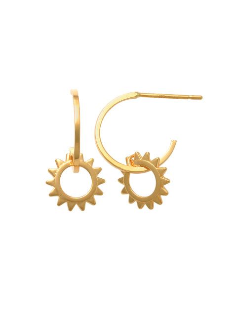 9ct Yellow Gold Sun Earrings PT46478