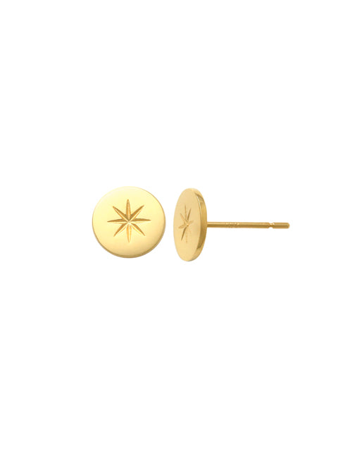 9ct Yellow Gold Star Flat Earring PT46578