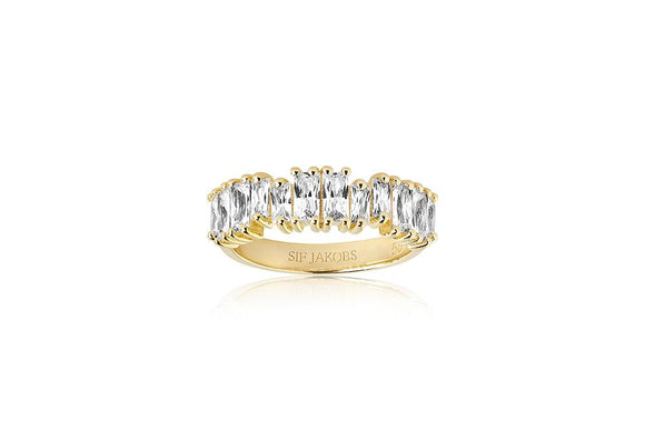 Sif Jakobs RING ANTELLA PICCOLO - 18K GOLD PLATED WITH WHITE ZIRCONIA