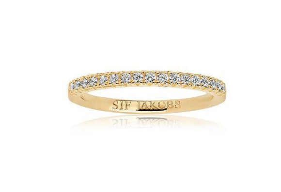 SIF JACOBS RING ELLERA - 18K GOLD PLATED WITH WHITE ZIRCONIA